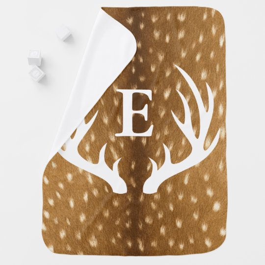 Baby Deer Fawn Fur White Antlers Baby's Initial
