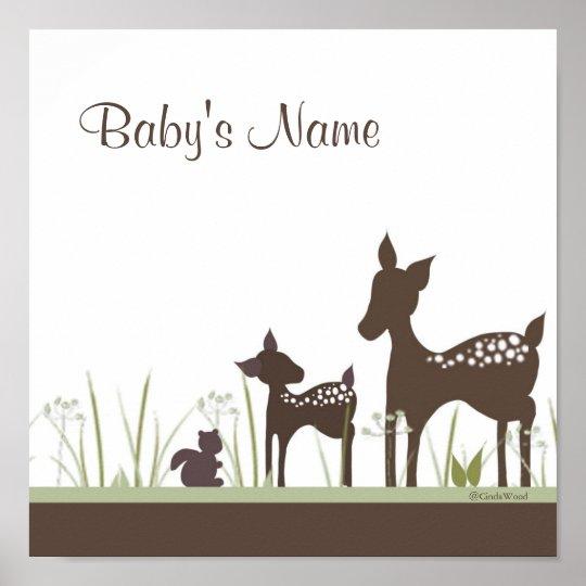 Baby Deer Personalised Poster