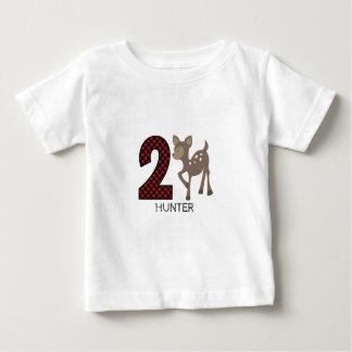 Baby Deer Plaid Second Birthday Shirt