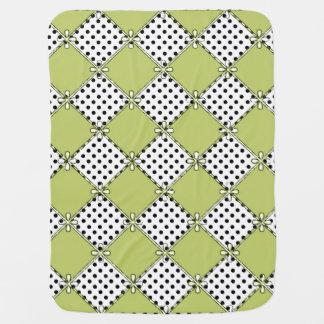 Baby-Diamond's & Dots-Olive-Black-Stylish_Blanket Baby Blanket