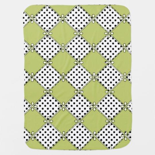 Baby-Diamond's & Dots-Olive-Black-Stylish_Blanket Receiving Blanket