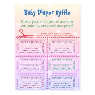 Baby Diaper Raffle Tickets Rainbow Postcard