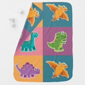 Baby Dino Friends Pattern Buggy Blankets