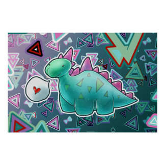 Baby Dinosaur Triangle Background Poster