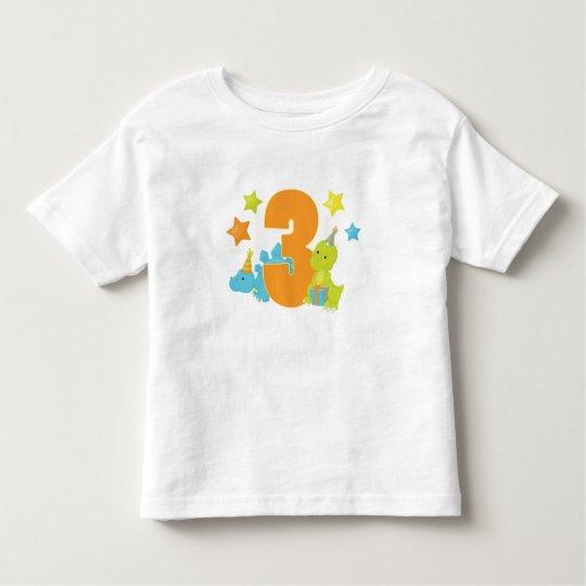 Baby Dinosaurs Three Year Old Birthday Shirt