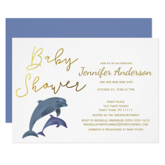 Baby Dolphin Boy or Girl Baby Shower Card