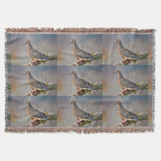 Baby Dove on Cactus Limb Throw Blanket