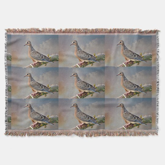 Baby Dove on Cactus Limb Throw Blanket