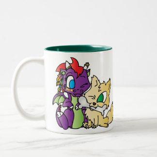 Baby Dragon and wolf Two-Tone Mug