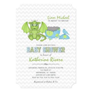 Baby Dragon Baby Shower Invitation Green Blue Grey