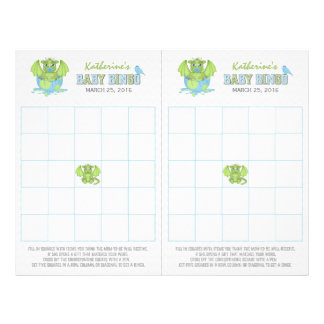 Baby Dragon Bingo sheet with 2 game cards 21.5 Cm X 28 Cm Flyer
