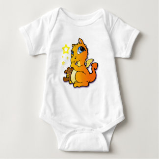 Baby dragon sucking its thumb - Orange Baby Bodysuit