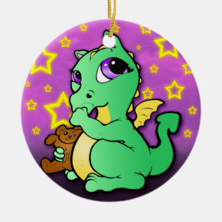 Baby Dragon Sucking Thumb Ornament - Green