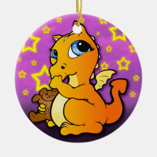Baby Dragon Sucking Thumb Ornament - Orange