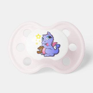Baby dragon sucking thumb - Purple + Pink - Binky Dummy