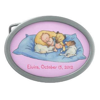 Baby Dreams on Dog Bed - Cute Belt Oval Belt Buckle