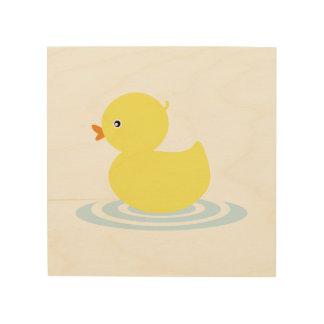 Baby duck cartoon wood canvas