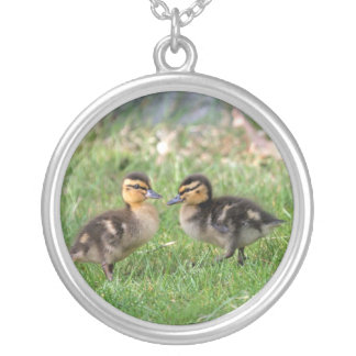 Baby Ducks Photo Silver Plated Necklace