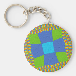 Baby eco green Checkered Blue cyan Basic Round Button Key Ring