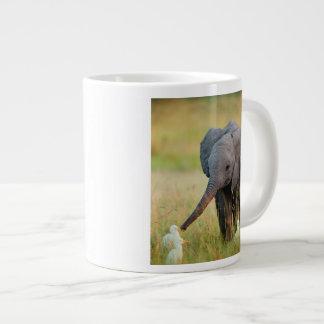 Baby Elephant and Birds Large Coffee Mug