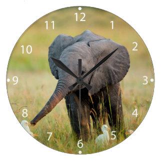 Baby Elephant and Birds Wallclock