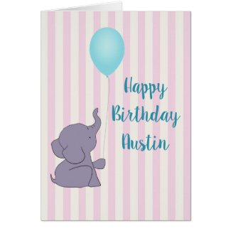 Baby Elephant and Blue Balloon | Greeting Card
