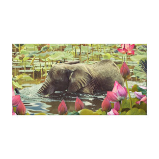 Baby Elephant and Lotus Flowers Canvas Print