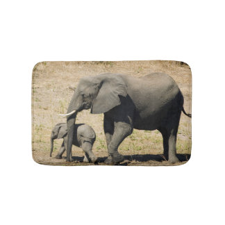 Baby Elephant And Mother Bath Mats