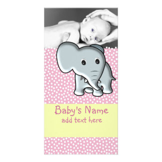 Baby Elephant Announcement Personalized Photo Card