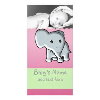 Baby Elephant Announcement Photo Greeting Card