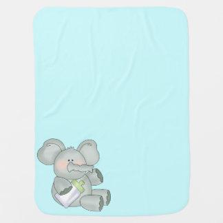 Baby Elephant Aqua Blue Boys Baby Blanket