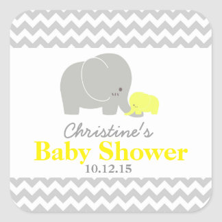 Baby Elephant Baby Shower Favor Labels Square Sticker