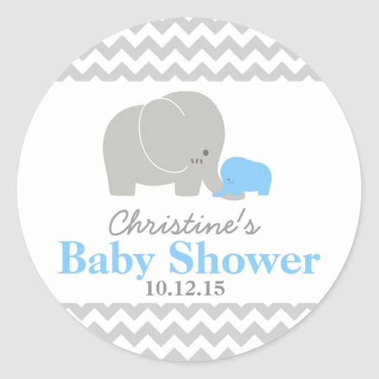 Baby Elephant Baby Shower Favour Labels Round Sticker