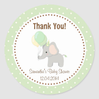 Baby Elephant Baby Shower Sticker Green