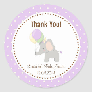 Baby Elephant Baby Shower Sticker Purple