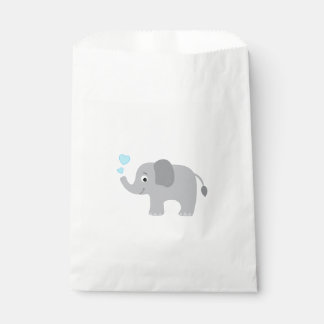 Baby Elephant Blowing Blue Hearts Favour Bags