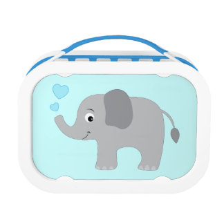 Baby Elephant Blowing Blue Hearts Lunch Box