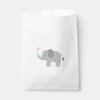 Baby Elephant Blowing Pink Hearts Favour Bags