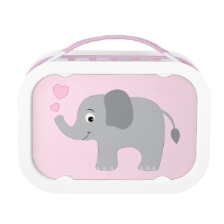 Baby Elephant Blowing Pink Hearts Lunch Box