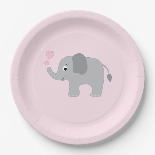 Baby Elephant Blowing Pink Hearts Paper Plate