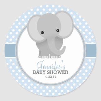 Baby Elephant (blue) Baby Shower Round Sticker