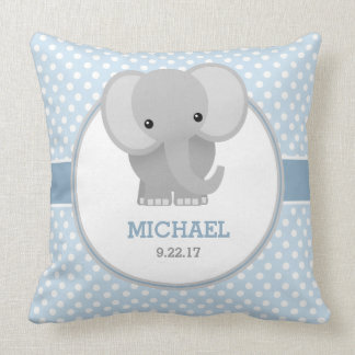 Baby Elephant (blue) Throw Pillow