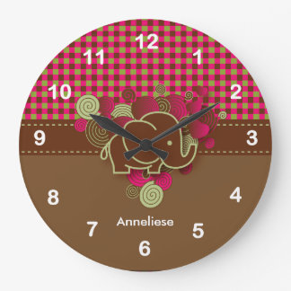 Baby Elephant - Dark Pink, Brown and Green Plaid Clock