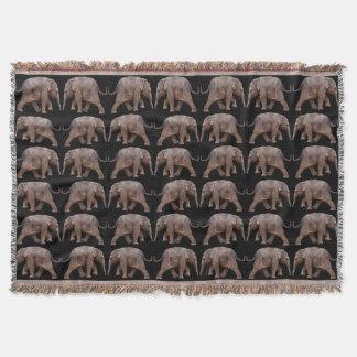 Baby Elephant Frenzy Throw Blanket (Black)