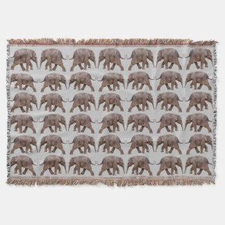 Baby Elephant Frenzy Throw Blanket (Light Grey)