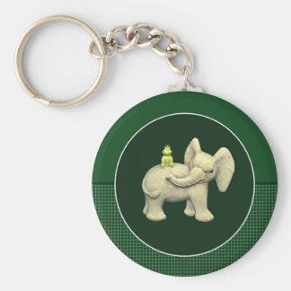 Baby Elephant & Frog Basic Round Button Key Ring