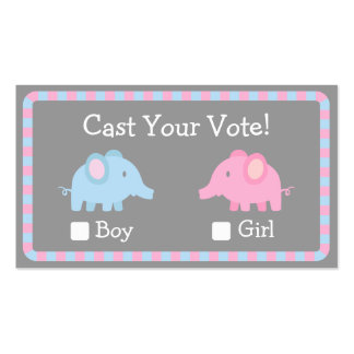 Baby Elephant, Gender Reveal Party, Ballot Vote Business Card Templates