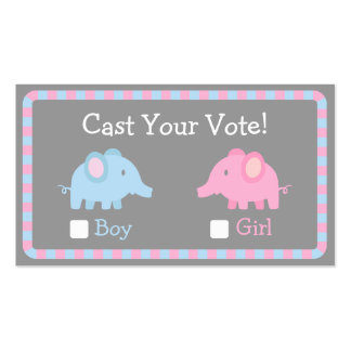 Baby Elephant, Gender Reveal Party, Ballot Vote Business Cards