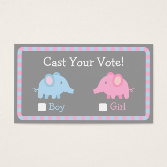 Baby Elephant, Gender Reveal Party, Ballot Vote Business