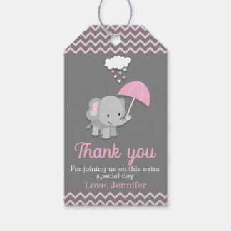 Baby Elephant Girl Baby Shower Party Favour Tags